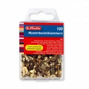 Cleme metalice pentru prins plicuri si documente, 100 buc/cutie - HERLITZ