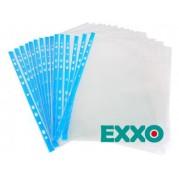 "Folie protectie documente A4 "" cristal "" - 80 microni, margine albastra, 100 buc/set - EXXO"