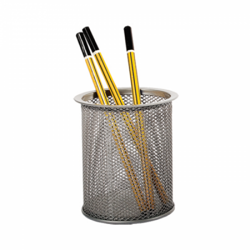 Suport instrumente de scris - pahar cilindric, plasa metalica tip Mesh (Ne,Ag) - FORPUS