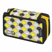 Penar neechipat, cu 3 compartimente - HERLITZ ( motiv Smiley Black Yelow Faces )