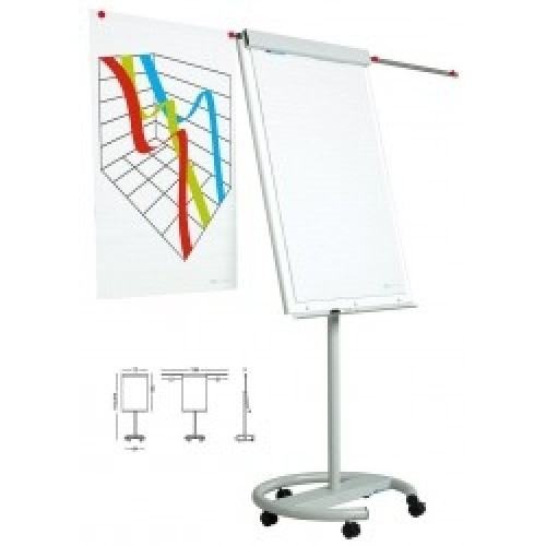 Flipchart whiteboard magnetic mobil (cu role) cu brate laterale, 105x70 cm - SMIT Vario