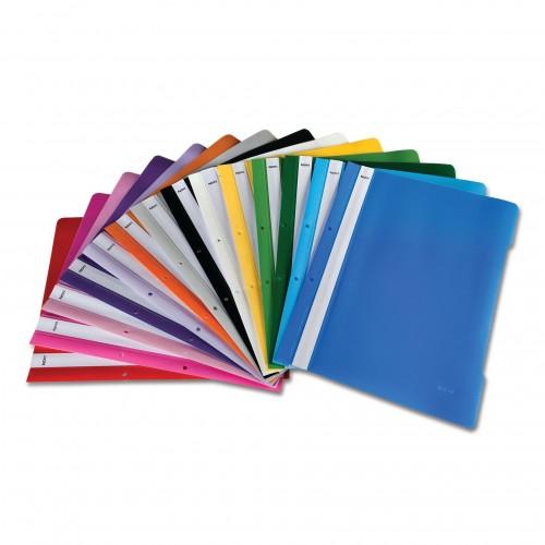 Dosar plastic A4 cu sina, 2 perforatii, diverse culori - NOKI