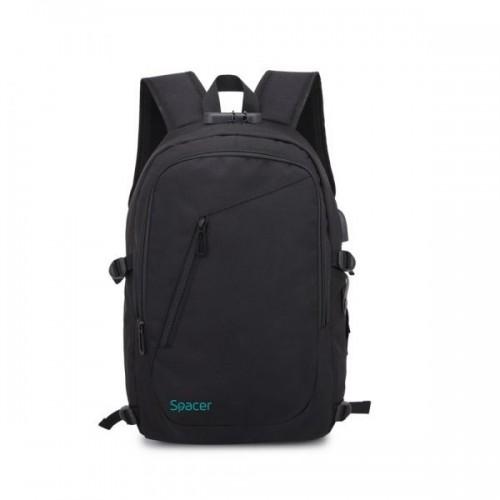 """Rucsac laptop 15,6"""", polyester negru - SPACER Duke"""