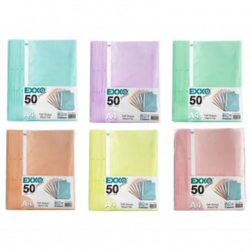 Dosar plastic A4 cu sina, 2 perforatii, diverse culori pastel - EXXO
