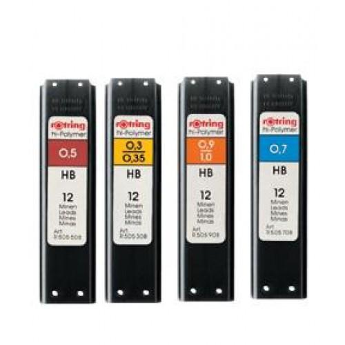 Mine creion mecanic - 0,3 mm (HB,B,2B), 12 buc/etui – ROTRING