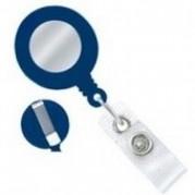 Dispozitiv cu snur retractabil pt. legitimatii, rotund-D20mm, clips curea, agatatoare lanyard, albastru - KEJEA